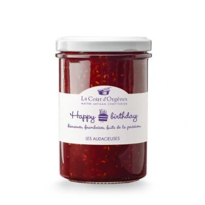 "Confiture ""Happy Birthday"" banane-framboise-passion 240gr La Cour d'Orgères"